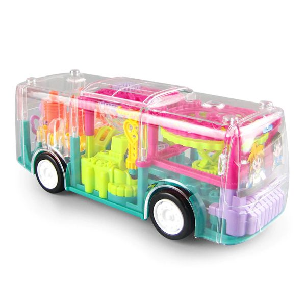 DishanKart Transparent Bus Concept Musical and 3D Lights Kids Transparent Car, Toy for 2-5 Year Kids Baby Toy